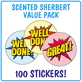 Scented Sherbet Stickers Value Pack (100 Stickers - 32mm)