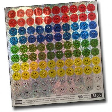 Sheet of 100 Mixed Circular Smiles Holographic 16mm Stickers