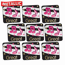 'Great' Music Notes Metallic 16mm Square Stickers x 140