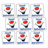 Sheet of 140 Good Behaviour Grin 16mm Square Stickers