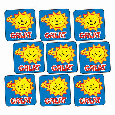 'Great' Sunshine 16mm Square Stickers x 140