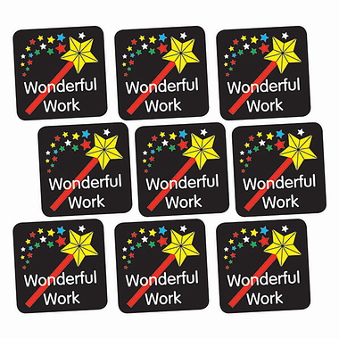 Sheet of 140 Wonderful Work Wand 16mm Square Stickers