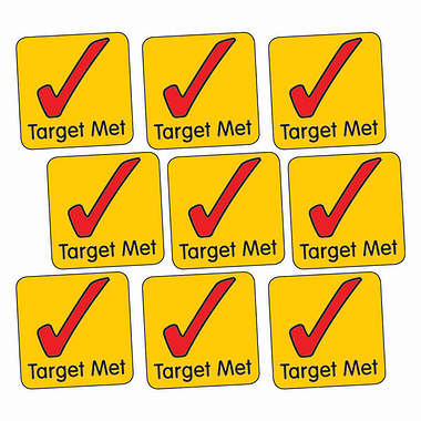 Sheet of 140 Target Met Tick 16mm Square Stickers