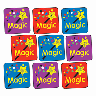 Sheet of 140 Mixed Magic Wand 16mm Square Stickers