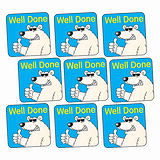 Sheet of 140 Well Done Polar Bear 16mm Square Stickers