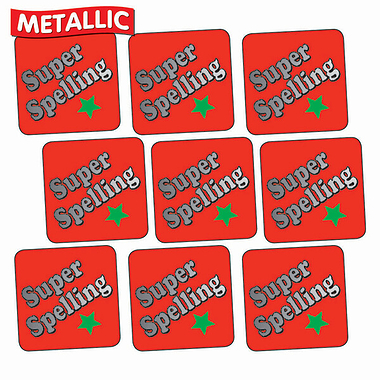 Sheet of 140 Super Spelling Metallic 16mm Square Stickers