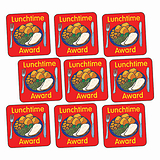 Sheet of 140 Lunchtime Award Hot Lunch 16mm Square Stickers