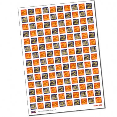 Sheet of 140 Mixed Lunchtime Award 16mm Square Stickers