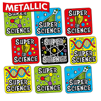 Sheet of 140 Super Science Metallic 16mm Square Stickers