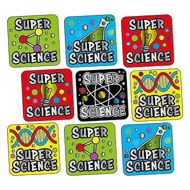 Metallic Super Science Stickers (140 Stickers - 16mm)
