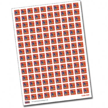 Sheet of 140 Empty Lunchbox 16mm Square Stickers