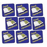 Sheet of 140 Good Homework Book 16mm Square Stickers