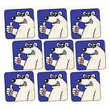 Sheet of 140 Polar Bear 16mm Square Stickers