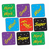 Sheet of 140 Mixed Words Metallic 16mm Square Stickers