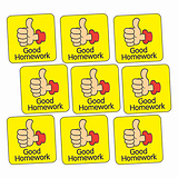 Sheet of 140 Good Homework Thumb 16mm Square Stickers