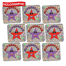140 Mixed Superstar Holographic 16mm Square Stickers