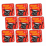 Sheet of 140 Magic Maths 16mm Square Stickers