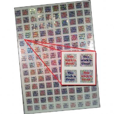 140 This Work Is Great Holographic 16mm Square Stickers