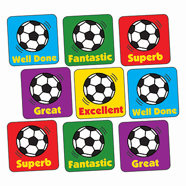 Sheet of 140 Mixed Football 16mm Square Stickers