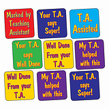 Sheet of 140 Mixed Teaching Assistant 16mm Square Stickers