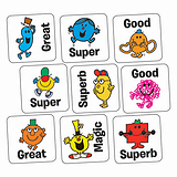 Sheet of 140 Mr Men Mixed Wording 16mm Square Stickers