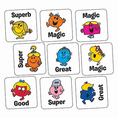 Sheet of 140 Little Miss Mixed Wording 16mm Square Stickers