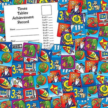 Sheet of 140 Mixed Times Table 16mm Square Stickers