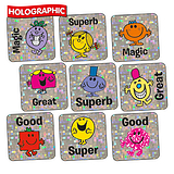 Mr Men Little Miss Holographic Stickers Square 16mm