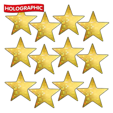 Holographic Gold Star Stickers (140 Stickers - 20mm) Brainwaves