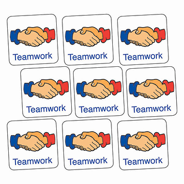 'Teamwork' Handshake 16mm Square Stickers x 140