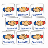 Sheet of 140 Teamwork Handshake 16mm Square Stickers