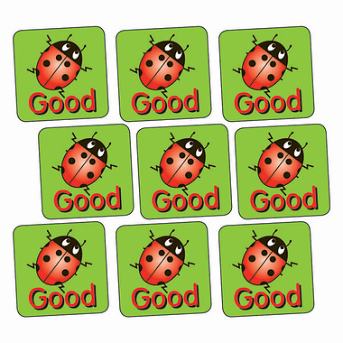 Sheet of 140 Good Ladybird 16mm Square Stickers