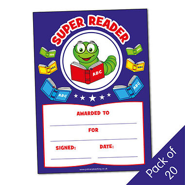 Billy Bookworm 'Super Reader' A5 certificates x 20