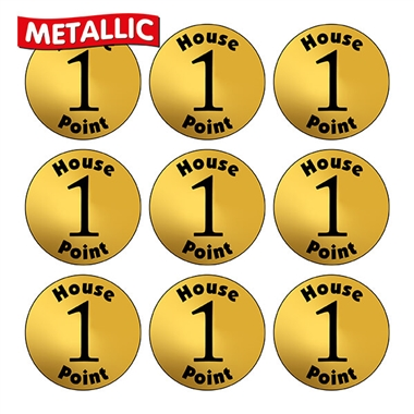 Metallic Gold 1 House Point Stickers (140 Stickers - 16mm)