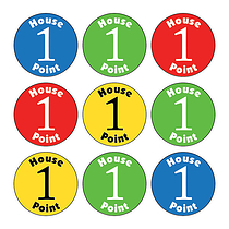 Sheet of 140 Mixed Colours House Point 16mm Stickers