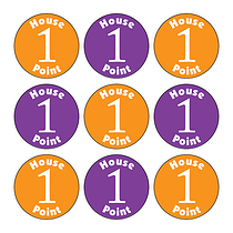 Sheet of 140 Mixed Orange & Purple House Point 16mm Stickers