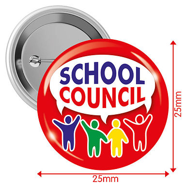 'School Council' Red 25mm Button Badges x 10