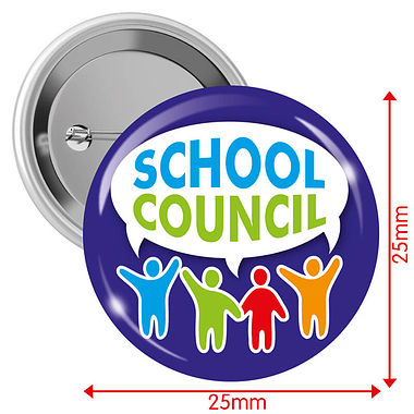 'School Council' Blue 25mm Button Badges x 10
