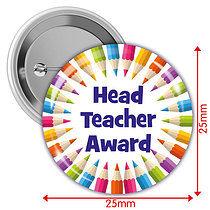 'Head Teacher Award' Multi Coloured 25mm Button Badges x 10