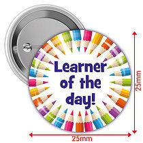 'Learner of the Day!' Multi Coloured 25mm Button Badges x 10