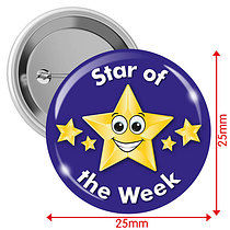 'Star of the Week' Blue 25mm Button Badges x 10