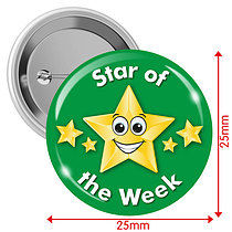 Pack of 10 Star of the Week Green 25mm Button Badges
