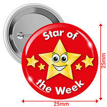 Pack of 10 Star of the Week Red 25mm Button Badges