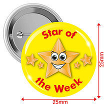 'Star of the Week' Yellow 25mm Button Badges x 10