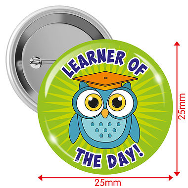 'Learner of the Day' Owl 25mm Button Badges x 10