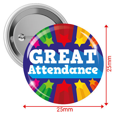Great Attendance Badges - Blue (10 Badges - 25mm)