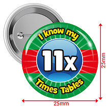 Pack of 10 I know my 11x Times Tables 25mm Button Badges