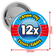 Pack of 10 I know my 12x Times Tables 25mm Button Badges