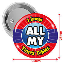 Pack of 10 I know ALL MY Times Tables 25mm Button Badges