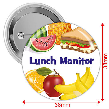 Pack of 10 Lunch Monitor 38mm Button Badges